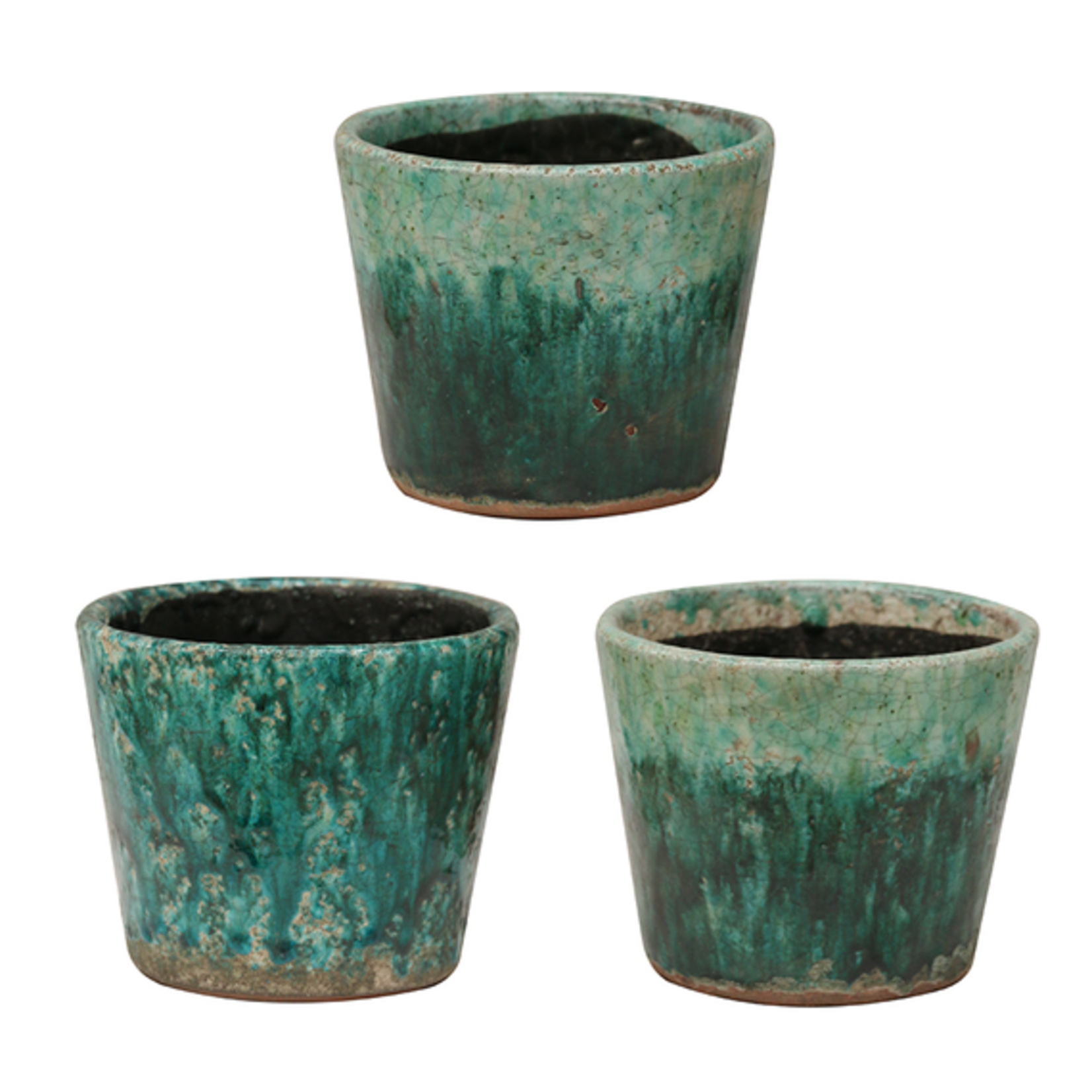 CC Interiors Rustic Teal Planters Set of 3