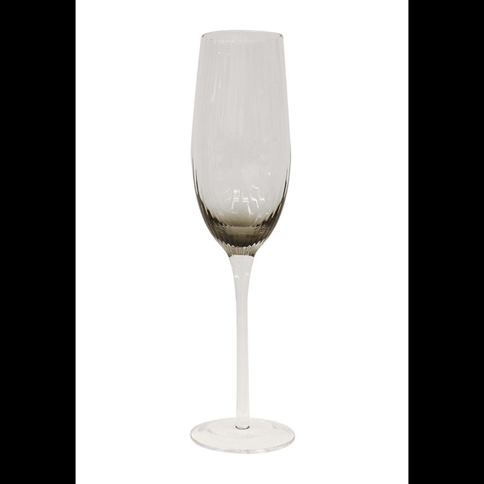 CC Interiors Set of 8 Smoked Champagne Glasses