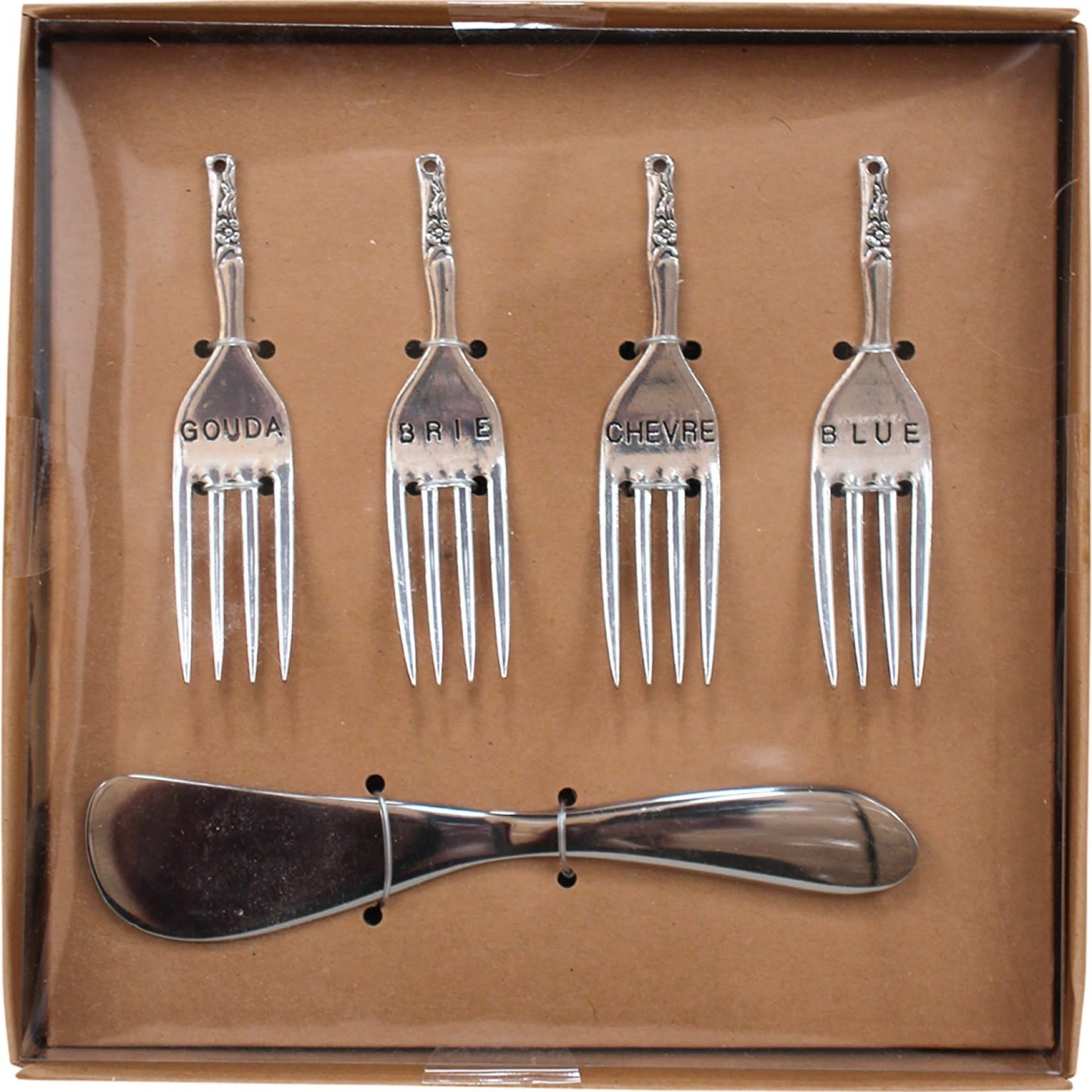 LaVida Spreader & Cheese Fork Set Brs