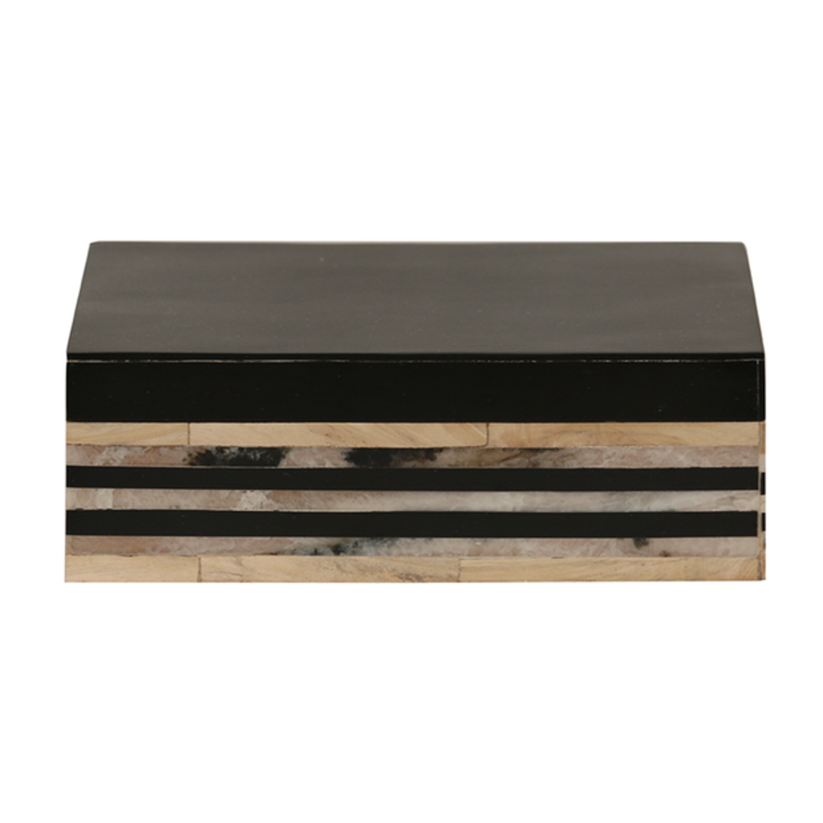 CC Interiors Veneer Style Wooden Box with Black Lid
