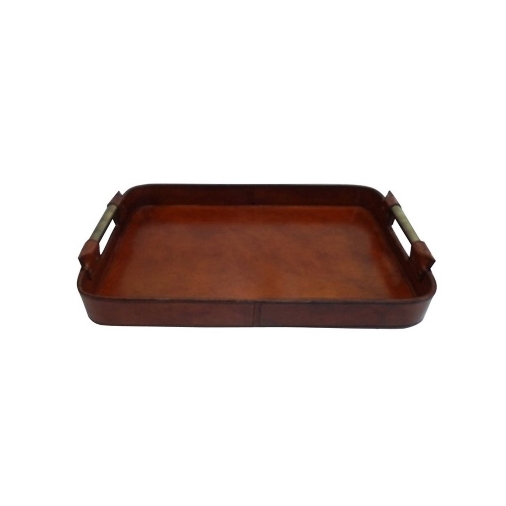 CC Interiors Leather Tray with Brass Handles