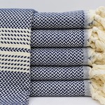 Organic Turkish Towels Navy Organic Turkish Tea Towel/Hand Towel