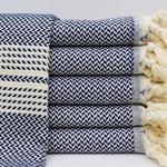Organic Turkish Towels Navy Organic Turkish Tea Towel/Hand Towel