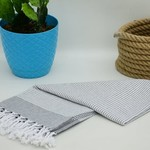 Organic Turkish Towels Grey Organic Turkish Tea Towel/Hand Towel