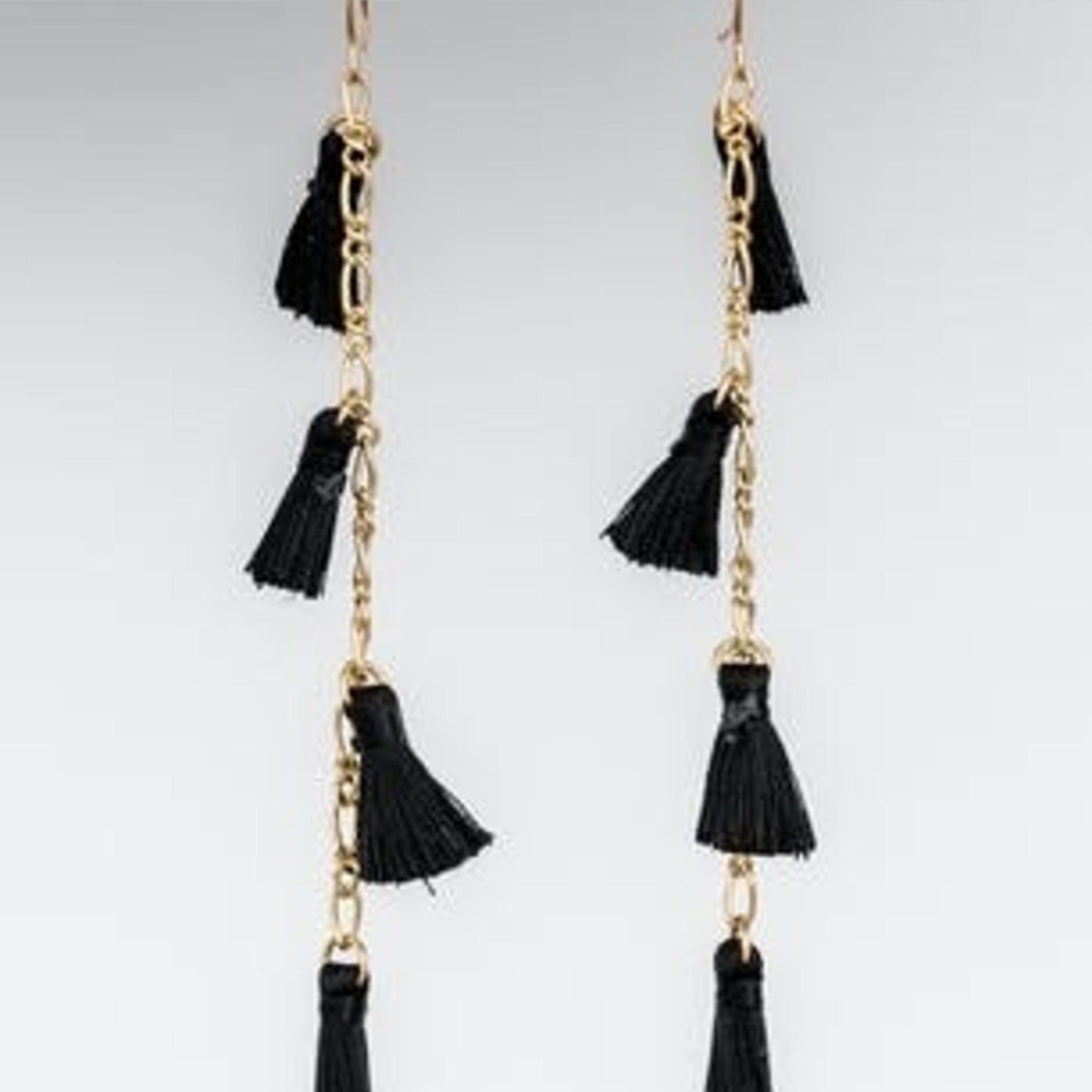Stella + Gemma Stella + Gemma - Earrings Noa Gold/Black Tassel