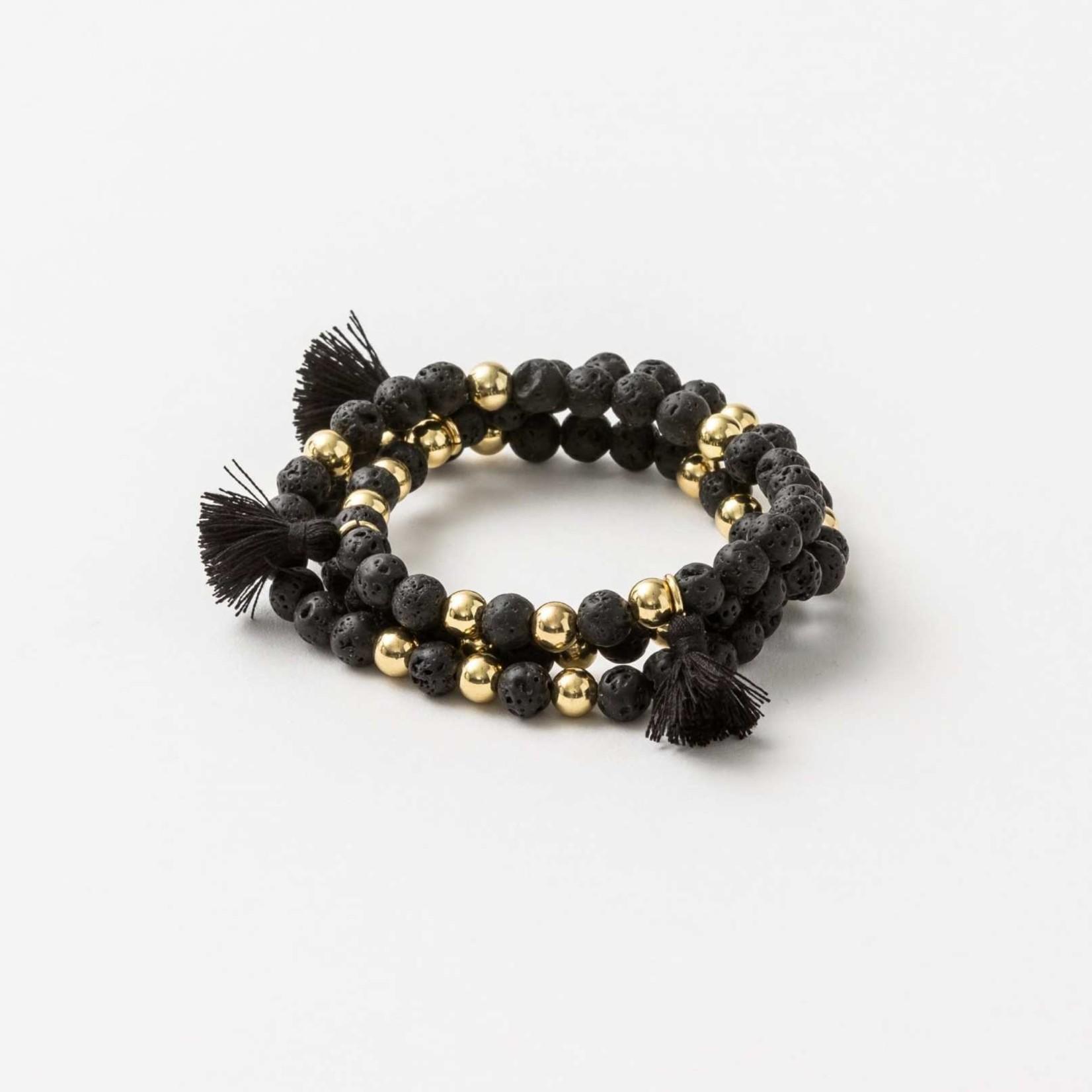 Stella + Gemma Stella + Gemma Bracelet Wrap Blk Lava Beads