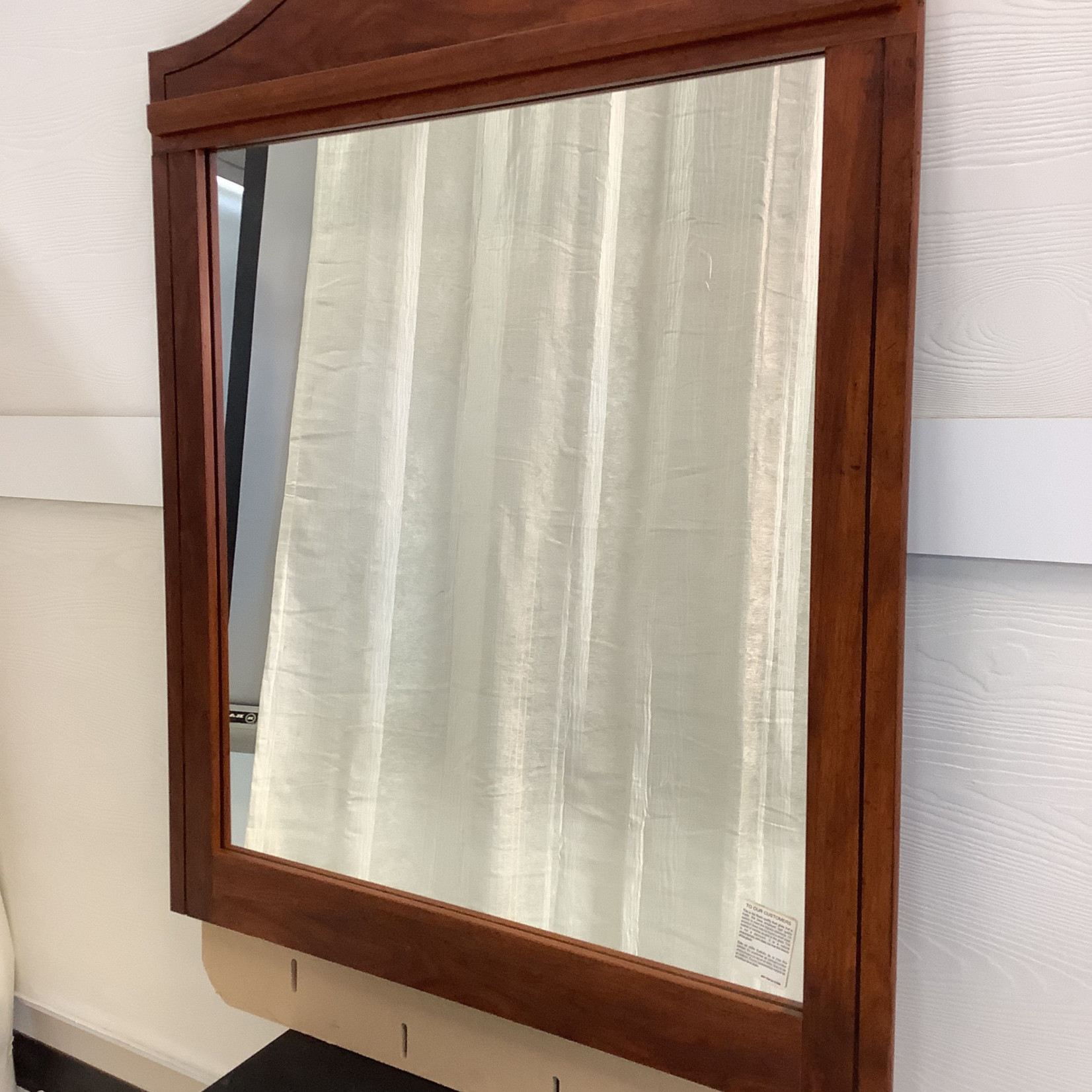 Square mirror with wooden frame