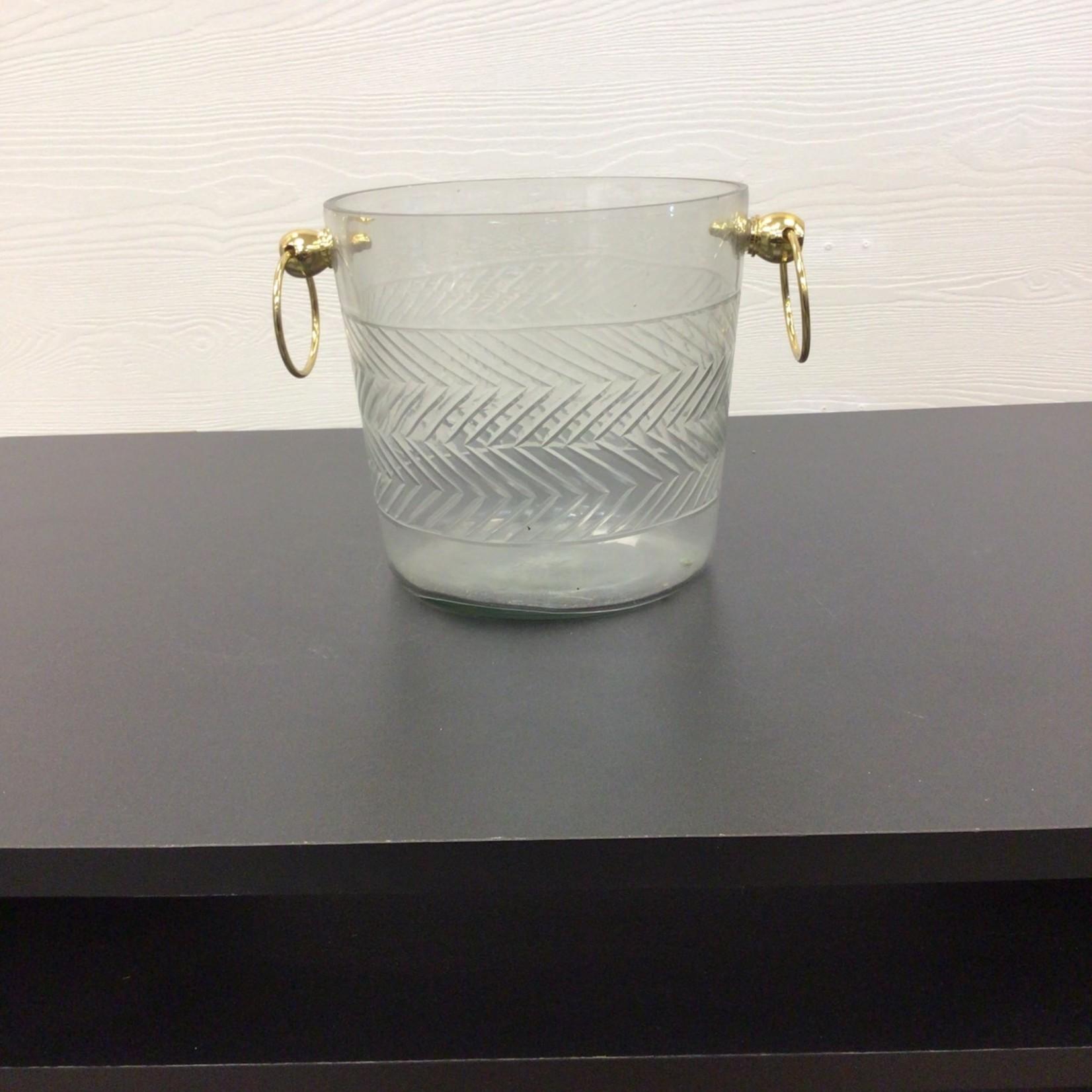 Zig-zag Patterned Glass Ice Bucket