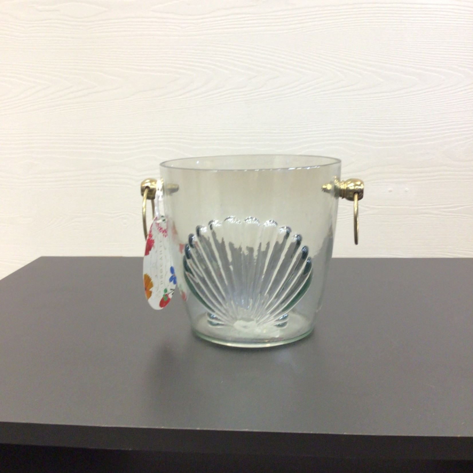 Shell Patterned Glass Ice Bucket