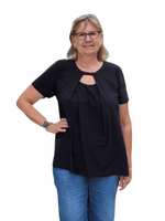 Accent Accessories Pleated Keyhole Tunic