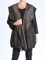 IC Collection Black & Tan Print Rain Jacket