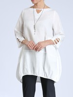 IC Collection V Detail White Linen Tunic