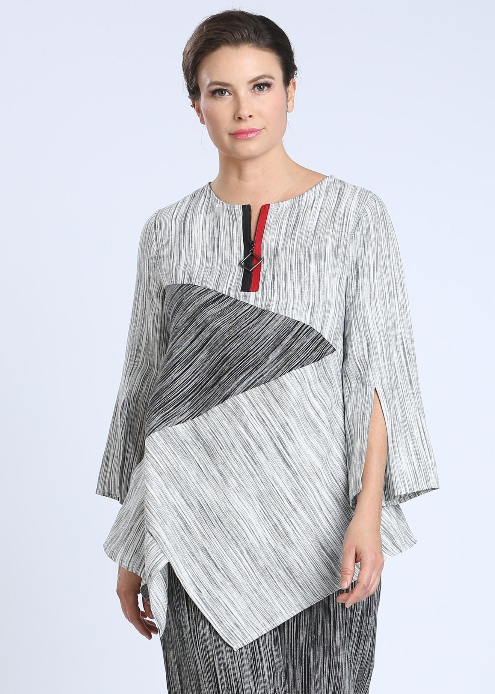 IC Collection Black & White Striped Linen Zipper Tunic