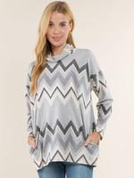 Vision Apparel Chevron Print Grey Sweater