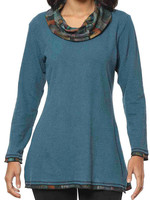Parsley and Sage Printed Cowlneck Turquoise Shirt