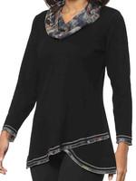 Parsley and Sage Maple Printed Cowlneck Black Shirt