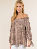 Vision Apparel Taupe With Navy Geometric Print Blouse