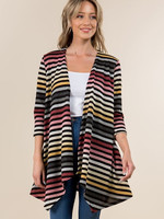 Vision Apparel Cardigan Rainbow Striped Sweater With Pockets