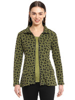 Parsley and Sage Black & Moss Checkered Jacket
