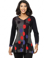 Parsley and Sage V Neck Tunic With Circles