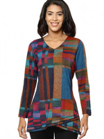 Parsley and Sage Long Sleeve Block Detail Tunic Multi Colored