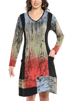 Parsley and Sage Skye Panel Print Dress With Pockets