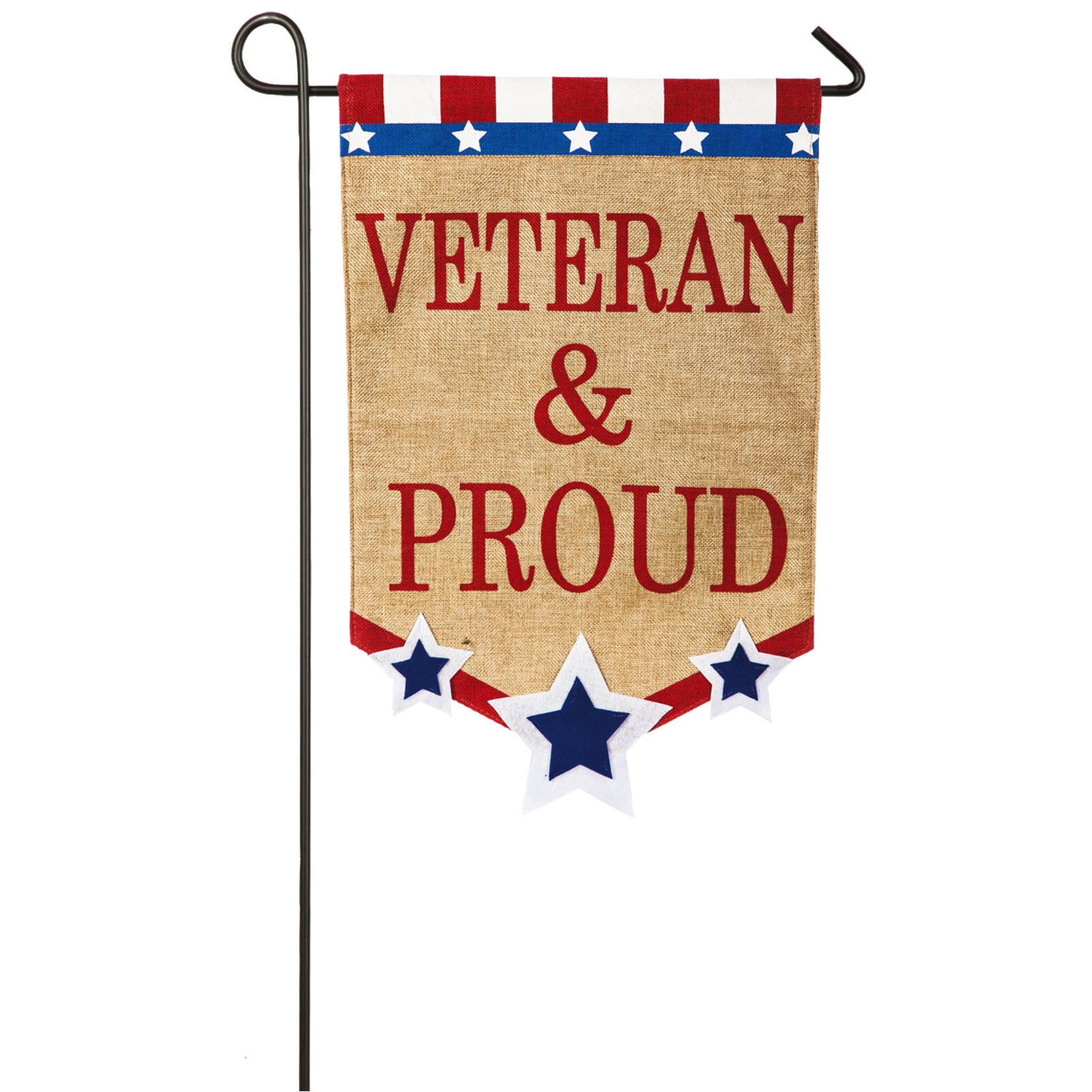 VETERAN & PROUD GARDEN FLAG
