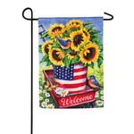 PATRIOTIC SUNFLOWER WAGON GARDEN FLAG