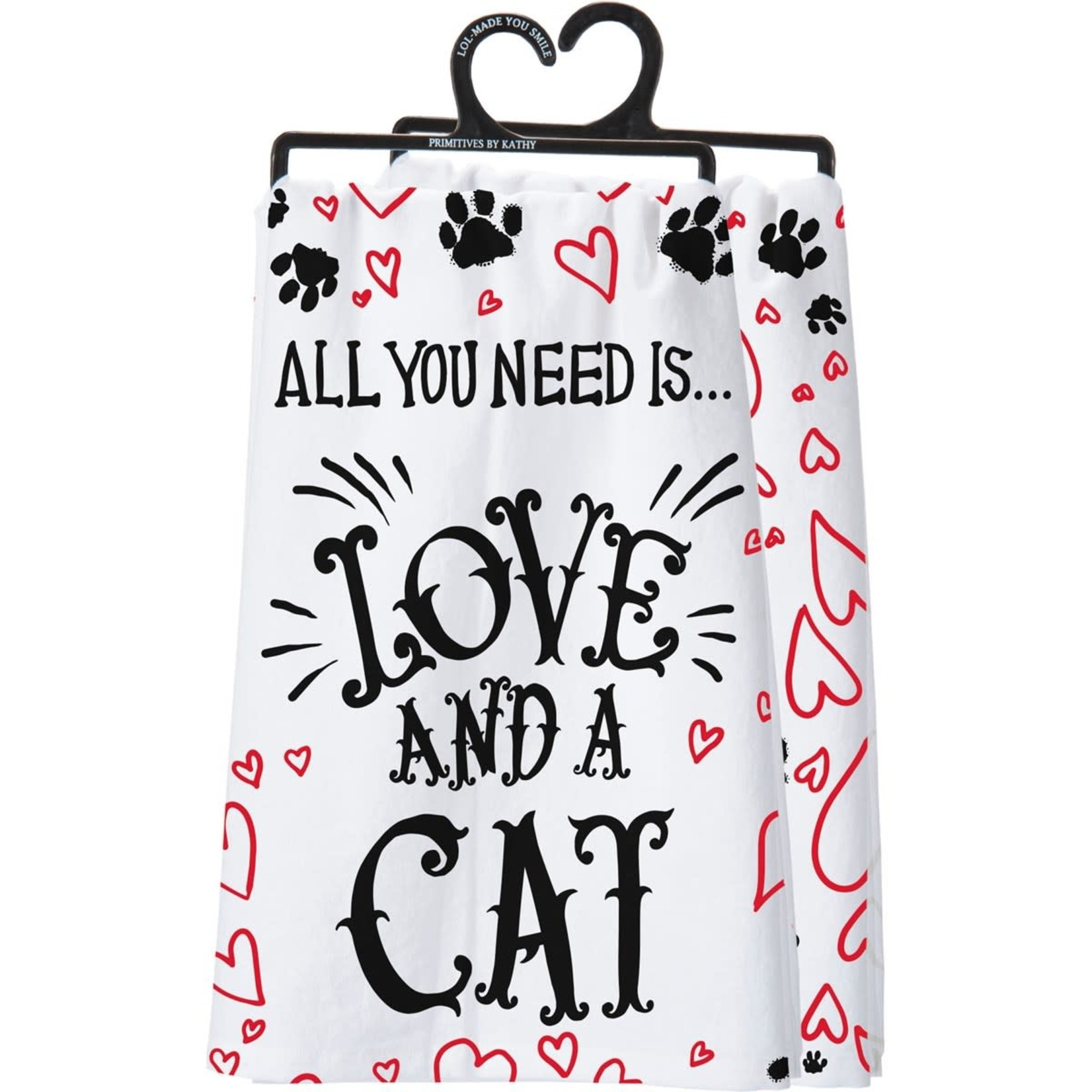 LOVE  AND A CAT DISH TOWEL