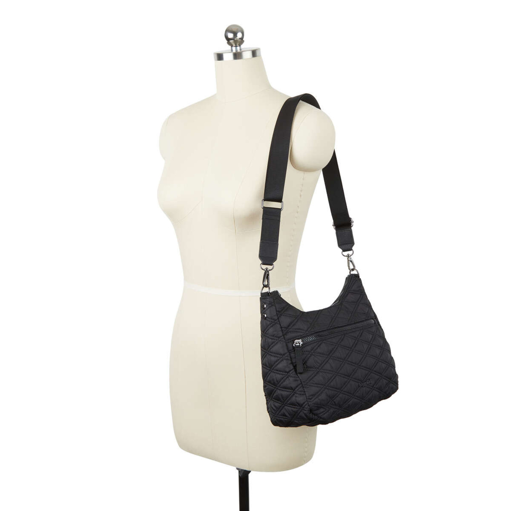 Baggallini QUILTED CONVERTIBLE HOBO BAG IN  BLACK