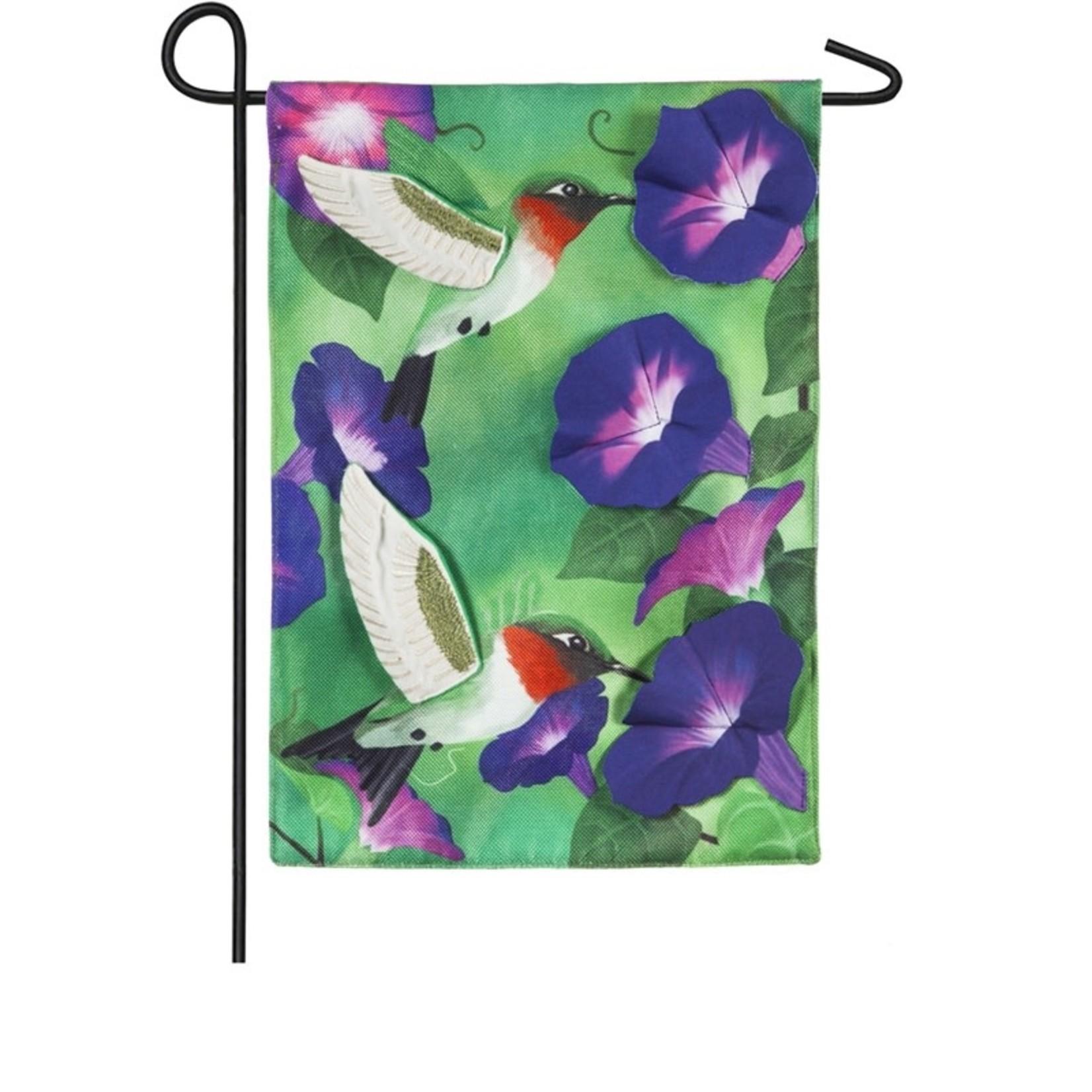 GARDEN FLAG MORNING GLORY HUMMINGBIRDS