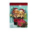CHRISTMAS PUPPY BUCKET GARDEN FLAG