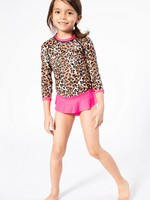 Long Sleeve Rashguard Top & Ruffled Skort Cheetah