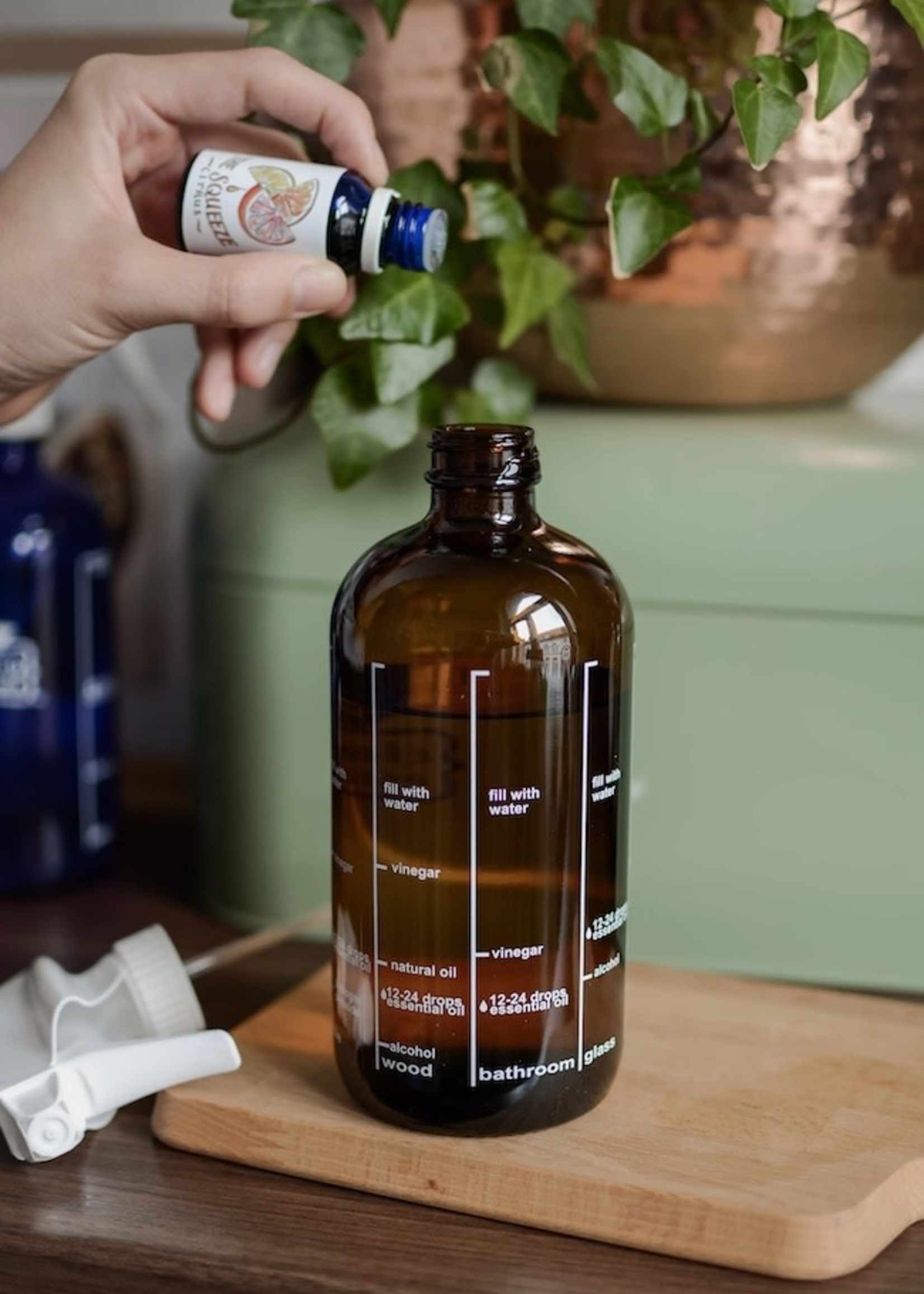 Cleaning Essentials Amber Glass Cleaning Recipe Bottle