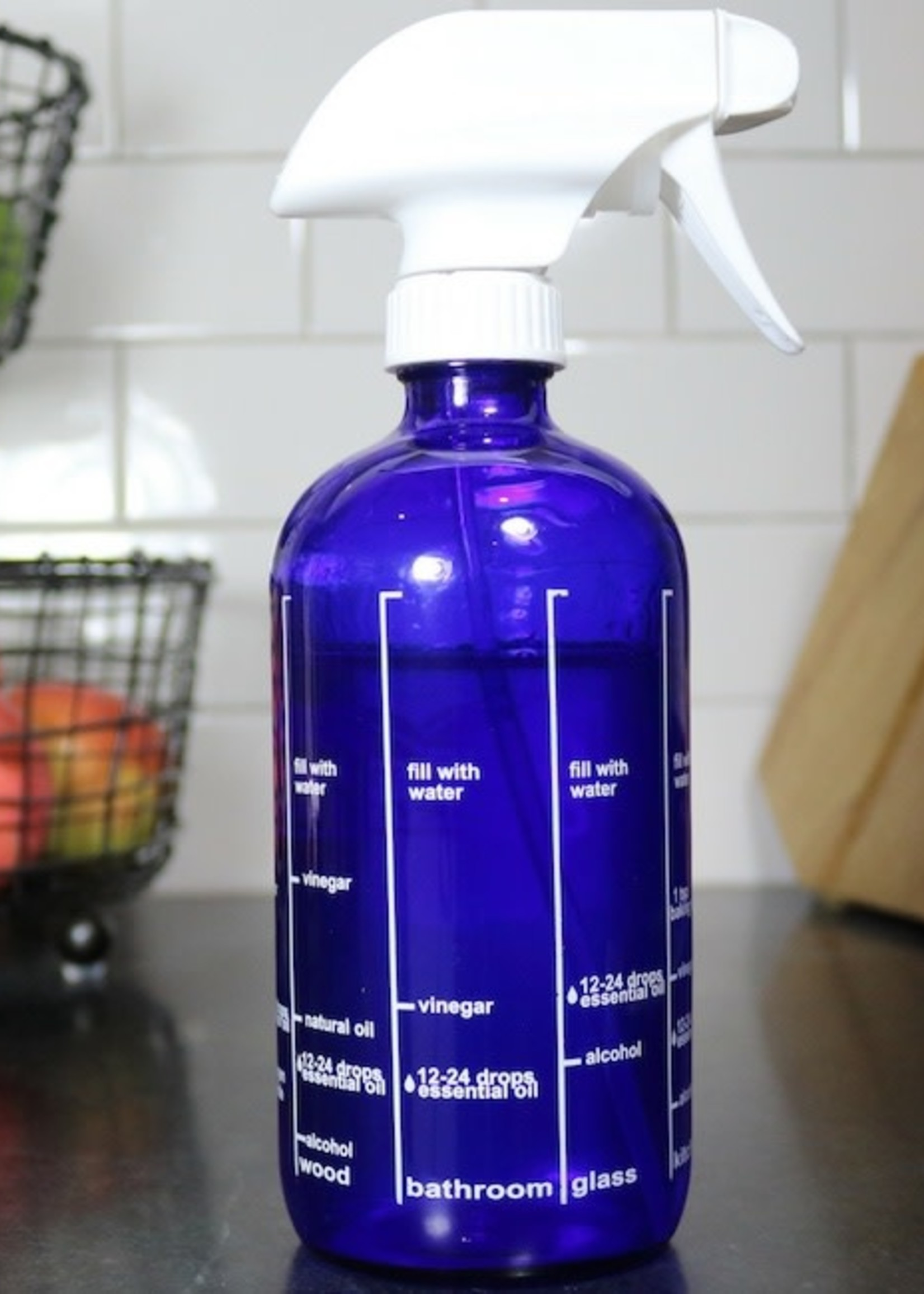 Cleaning Essentials Blue Cleaning Recipe Bottle