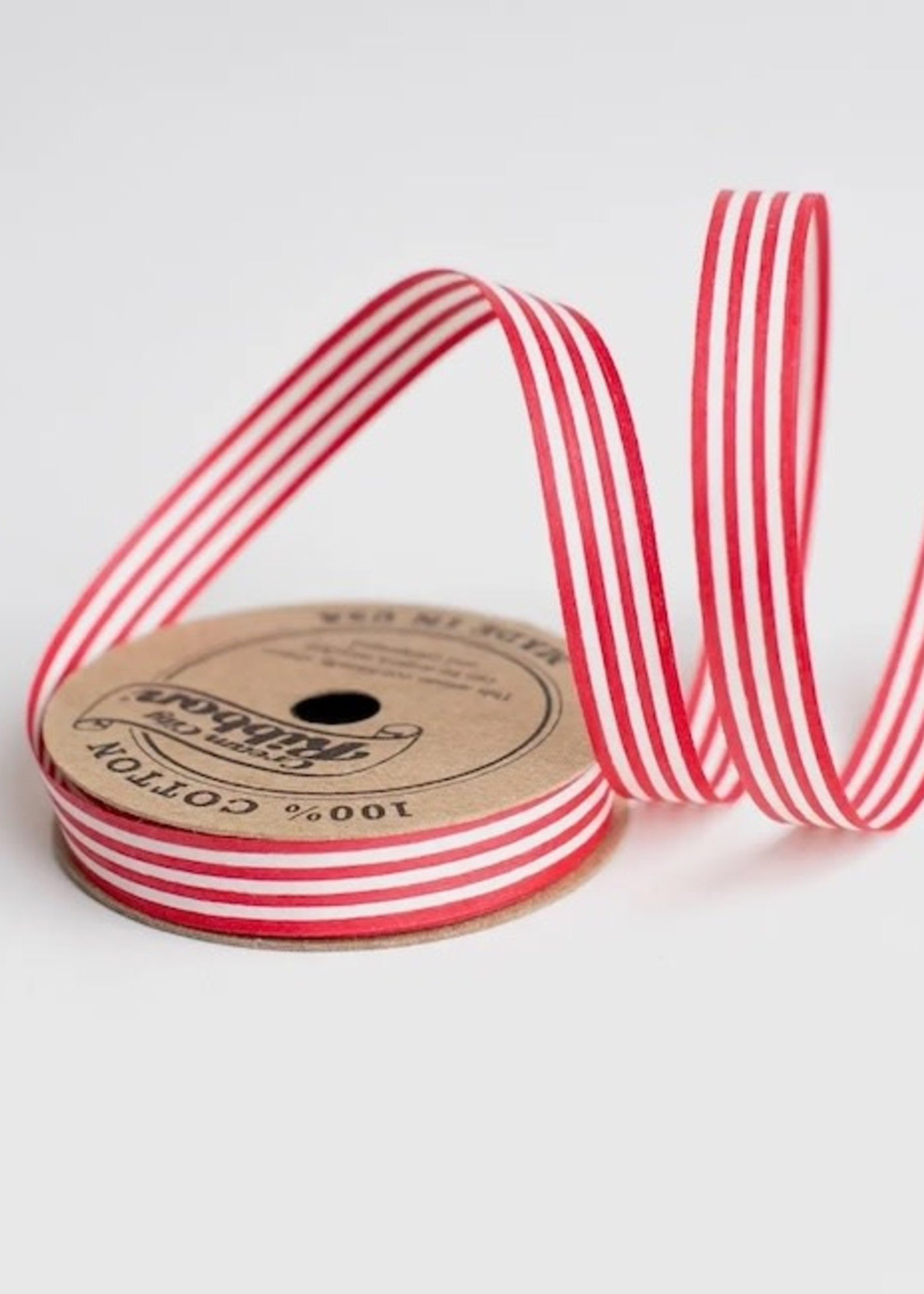 Wrappily Red & White Stripe Cotton Curling Ribbon