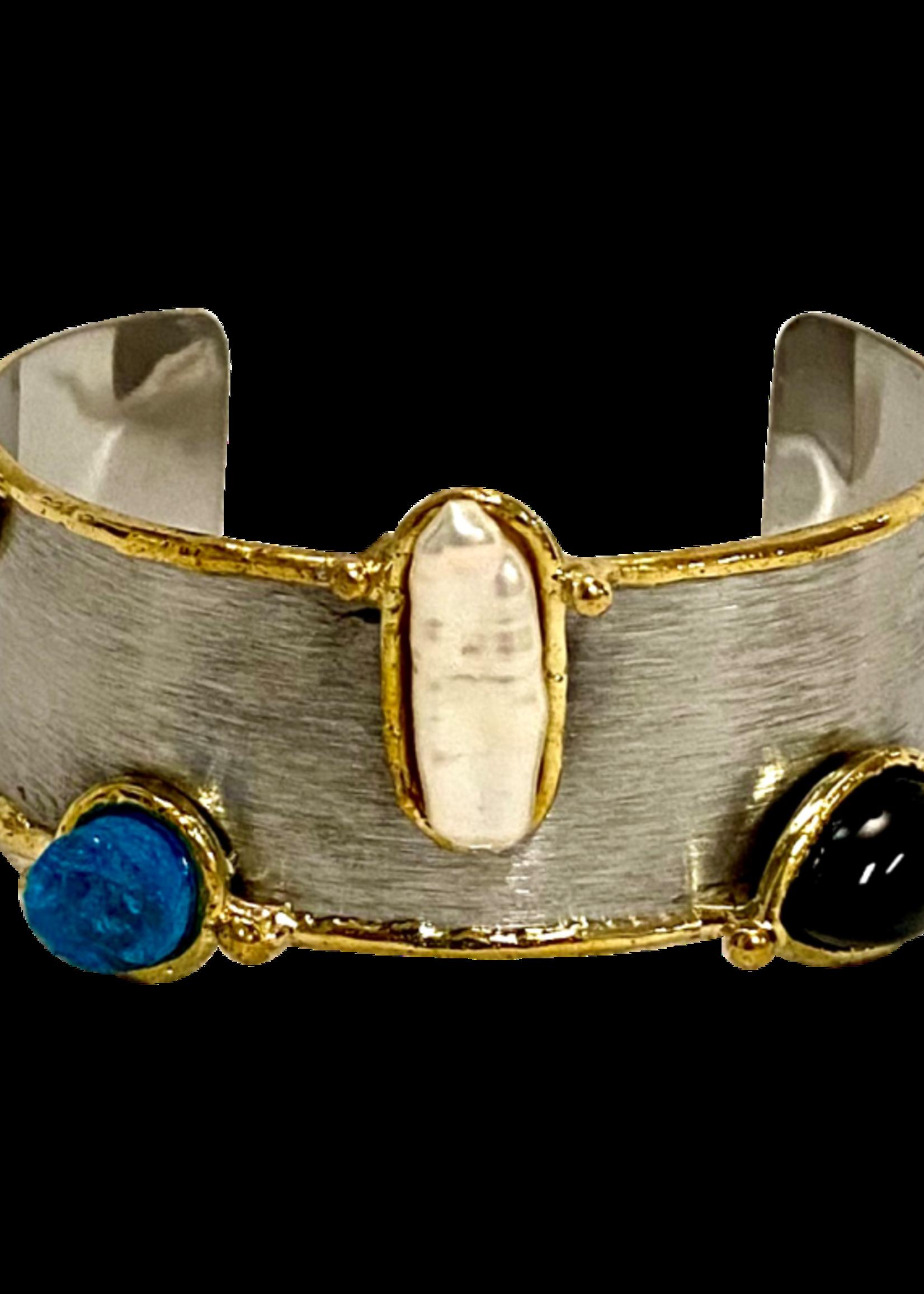 David Jeffery Brushed Stainless Cuff w/ Black Onyx, Blue Druzy, and Pearls