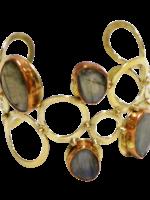 David Jeffery Gold White Metal Cuff w/ Labradorite