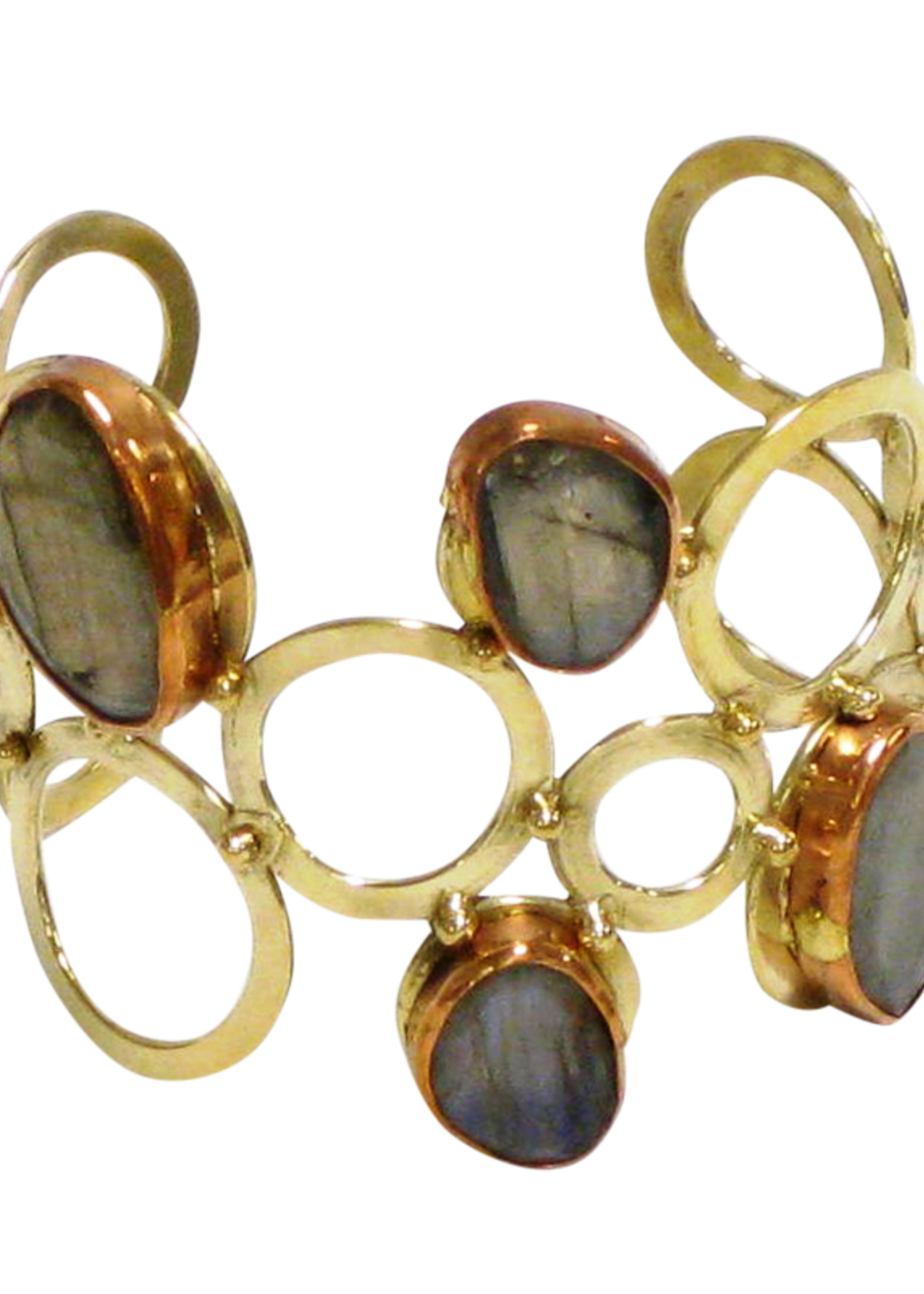 David Jeffery Gold White Metal Cuff w/ stones Labradorite
