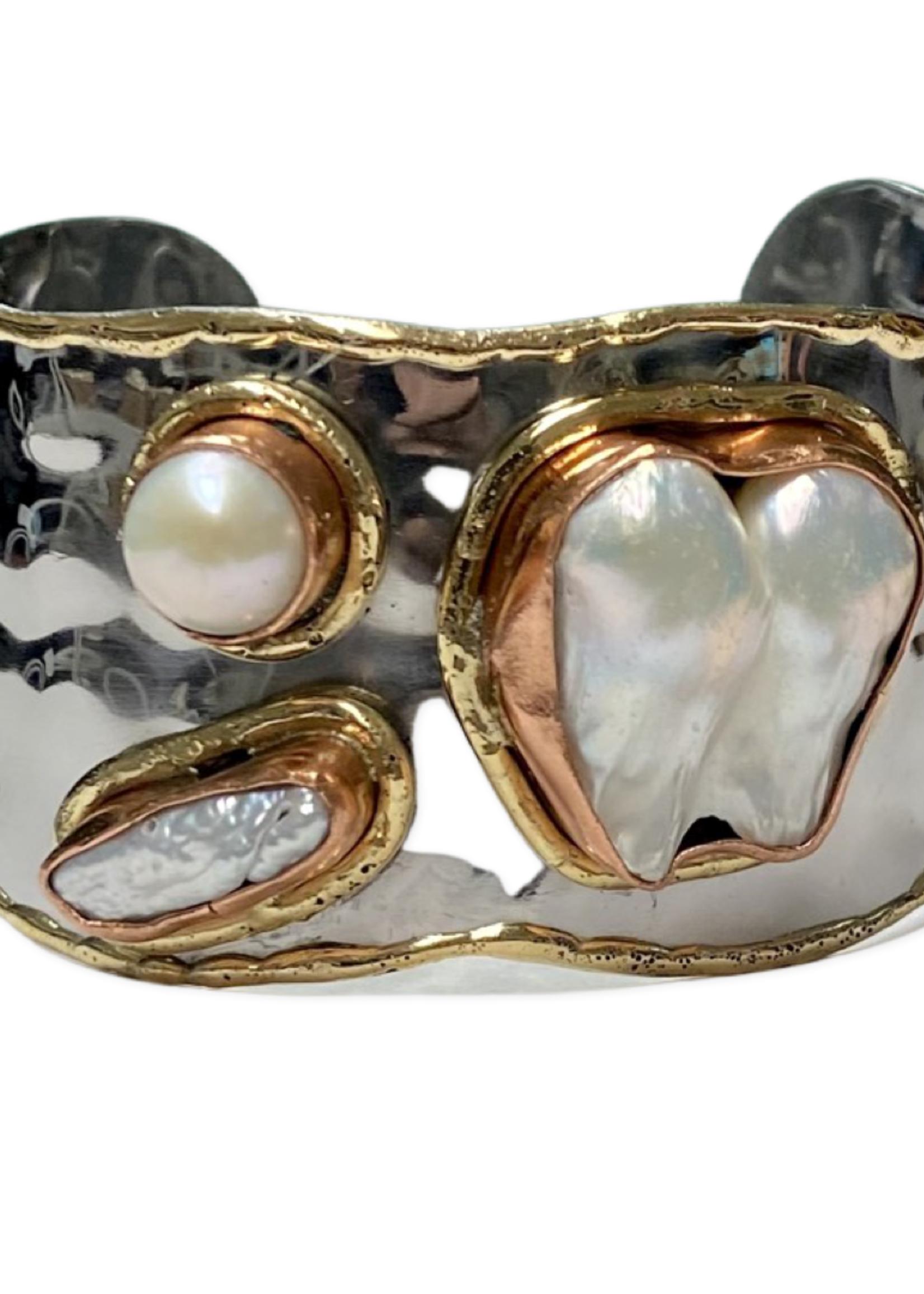 David Jeffery Steel Brass Copper Cuff Silver w/ Pearls