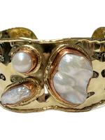David Jeffery Brass & Copper Cuff, Gold w Pearls