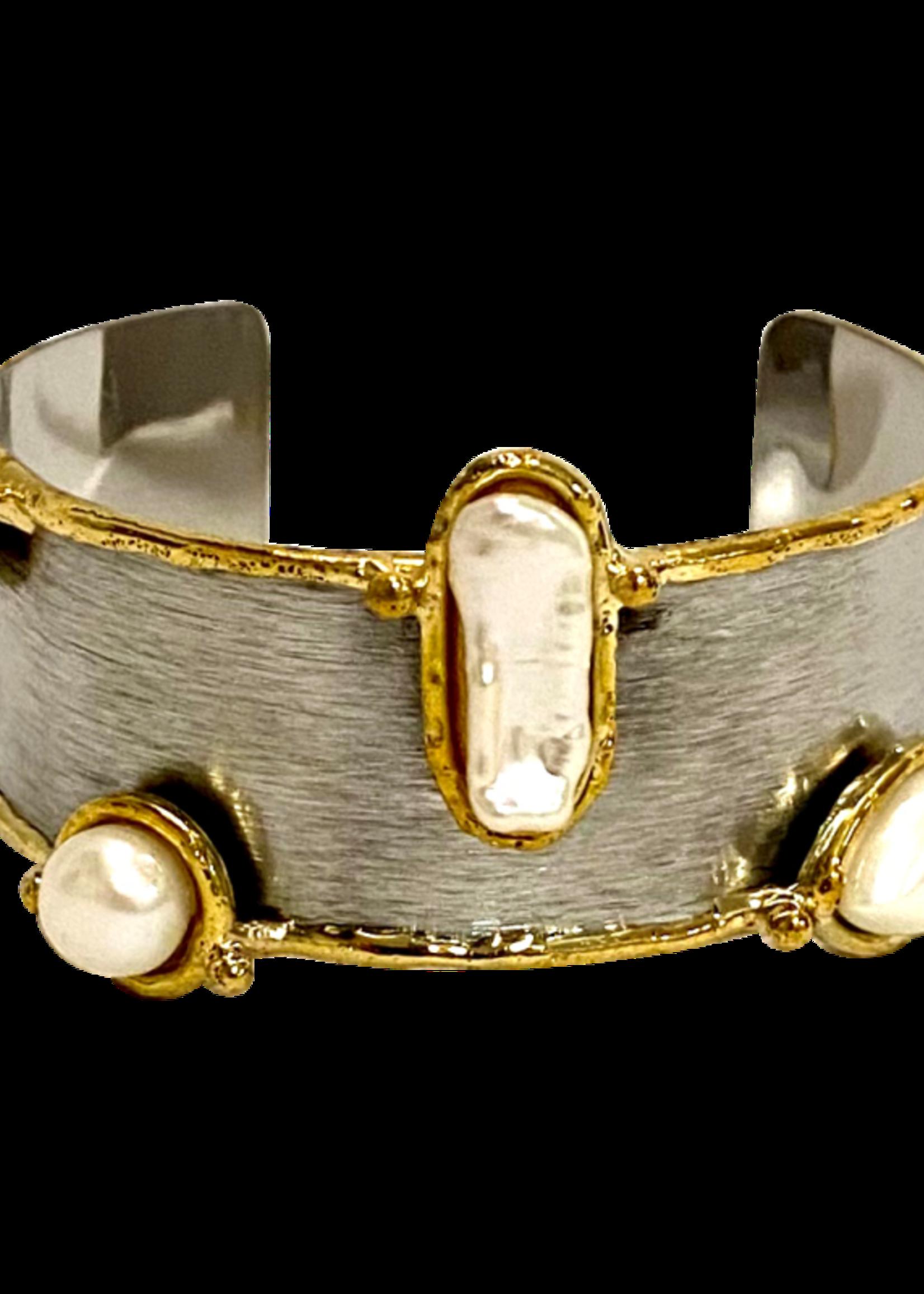 David Jeffery Brushed Stainless Cuffs w/ Pearls