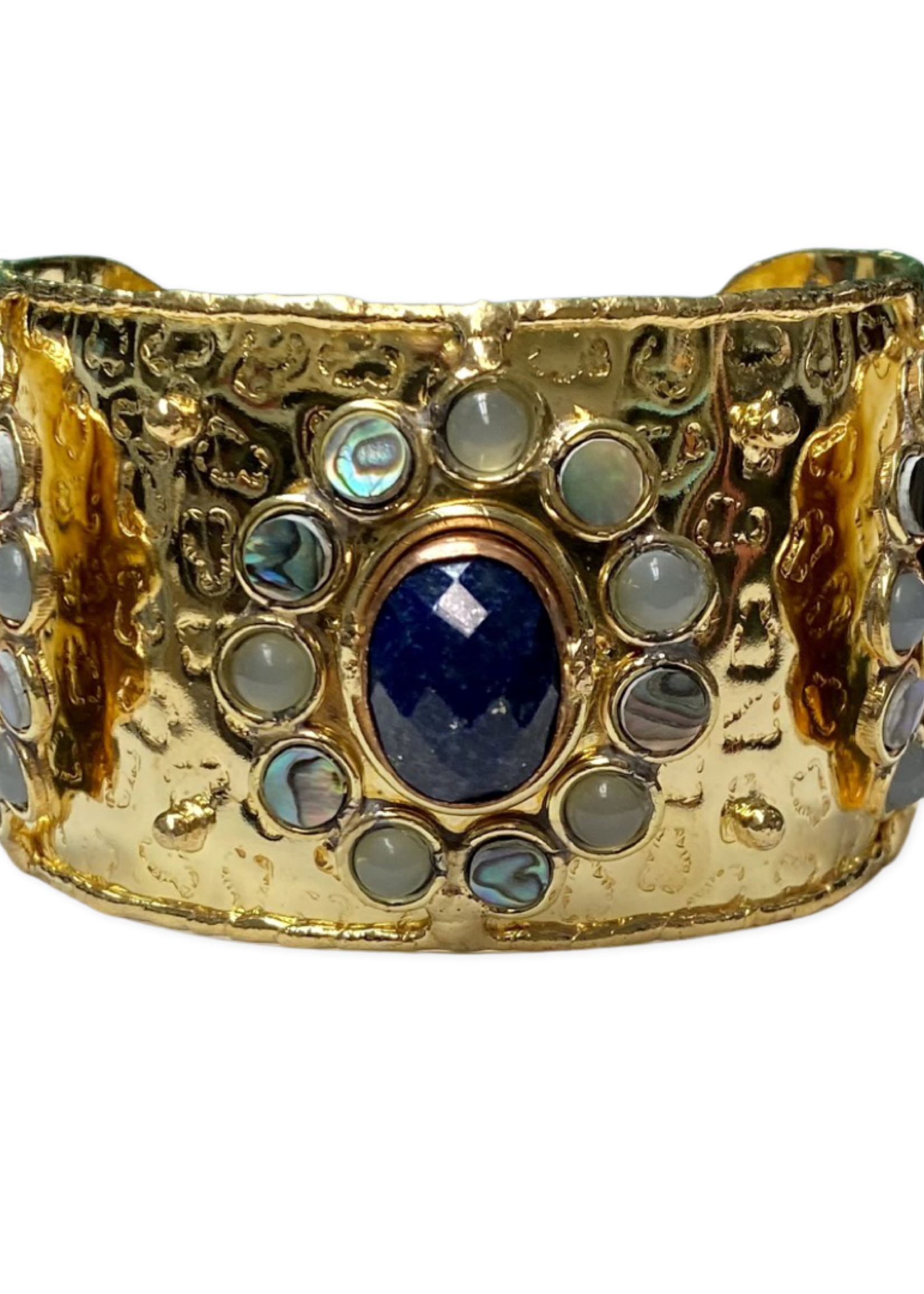 David Jeffery Brass & Copper Cuff w Faceted Lapis, Abalone and Chalcedony