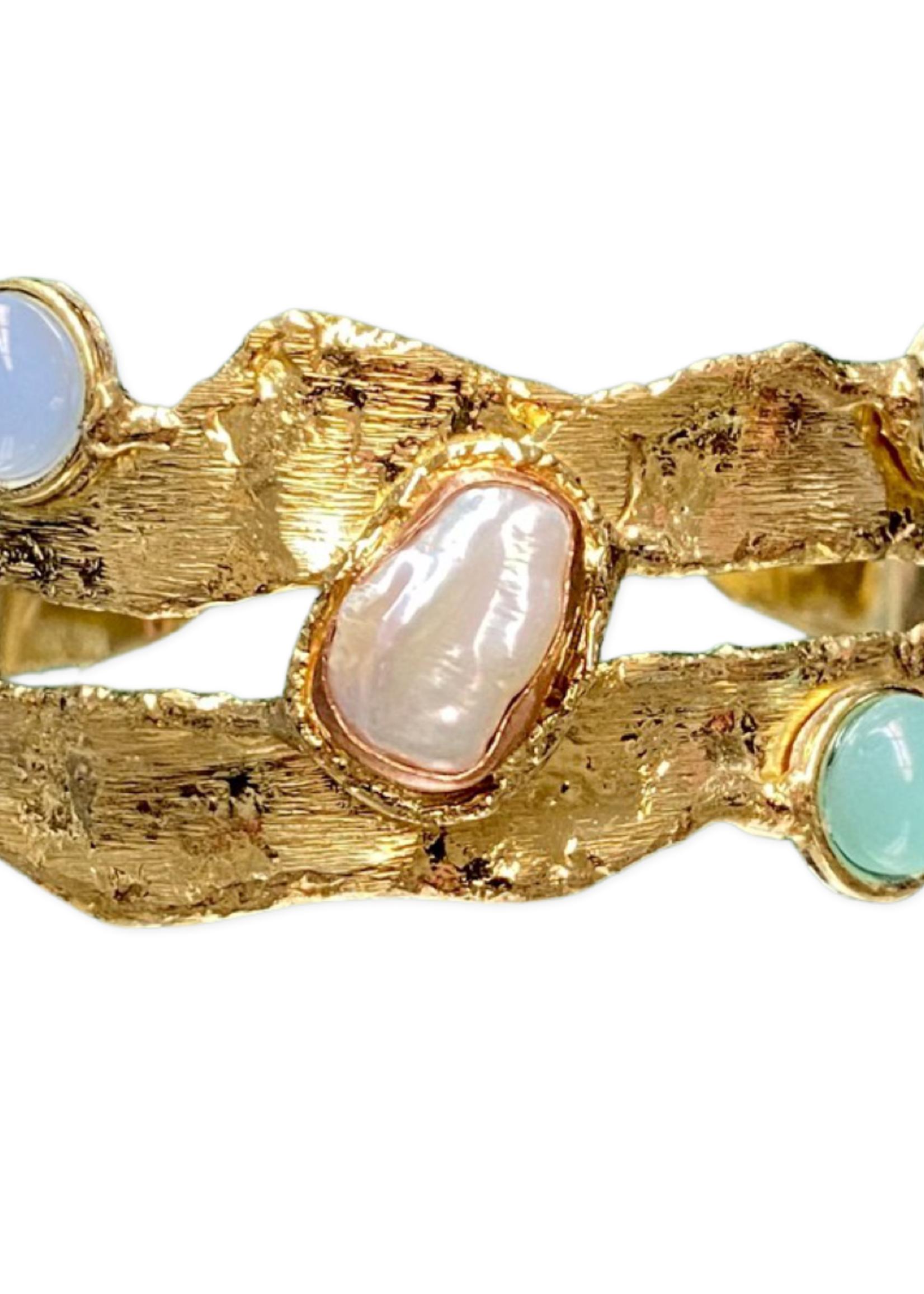 David Jeffery Brass & Copper Cuff w Aqua Marine, Chalcedony & pearls