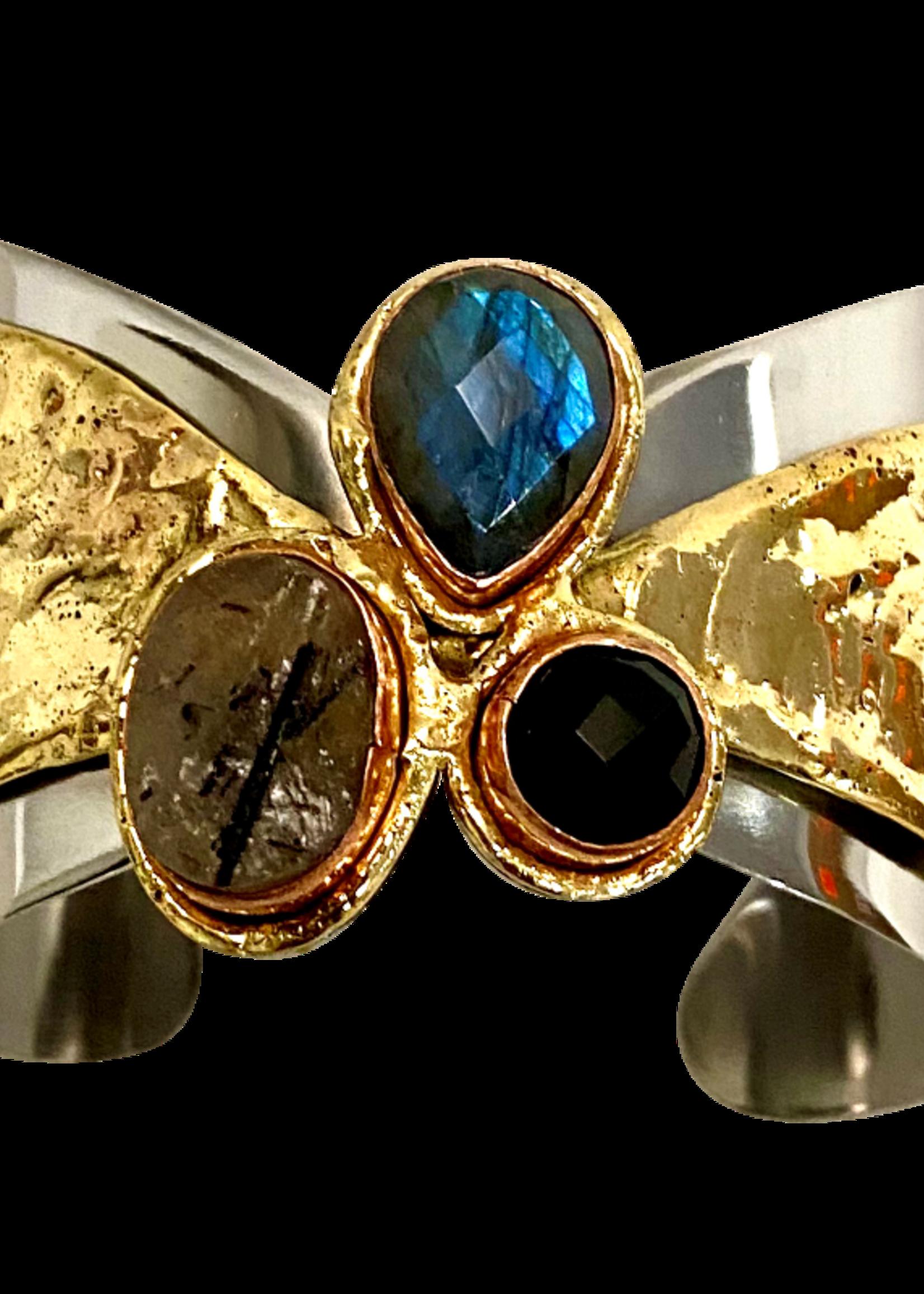David Jeffery Stainless & Brass Cuff w Labradorite, Black Rutile, & Onyx