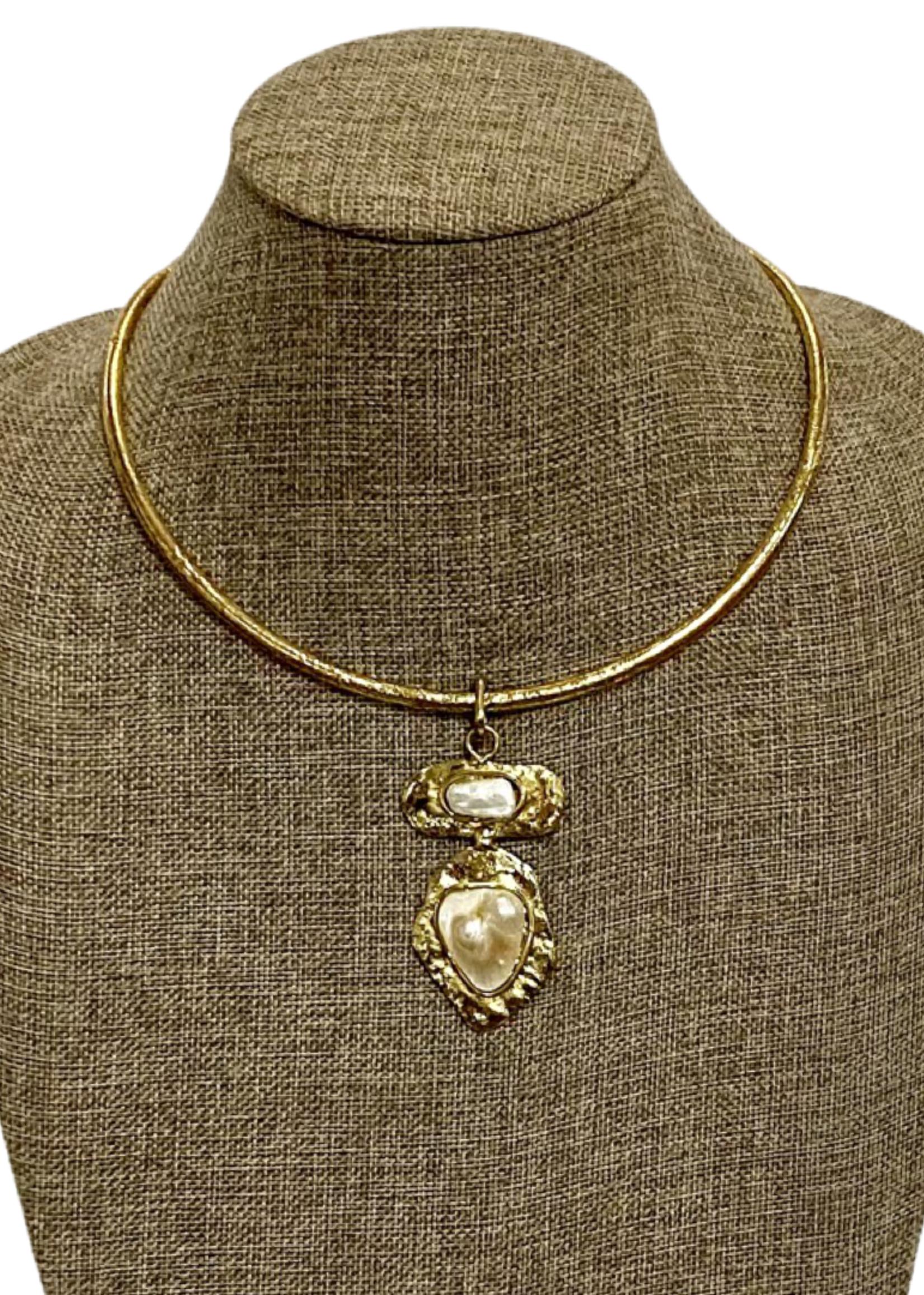 David Jeffery Pendant Gold White Metal & Copper Beva Pearl