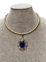 David Jeffery Brass & Copper Pendant w Lapis, Abalone, &Blue Chalcedony