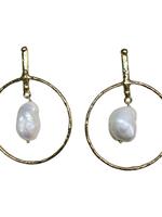 David Jeffery Earrings Brass w/ Baroque Pearls