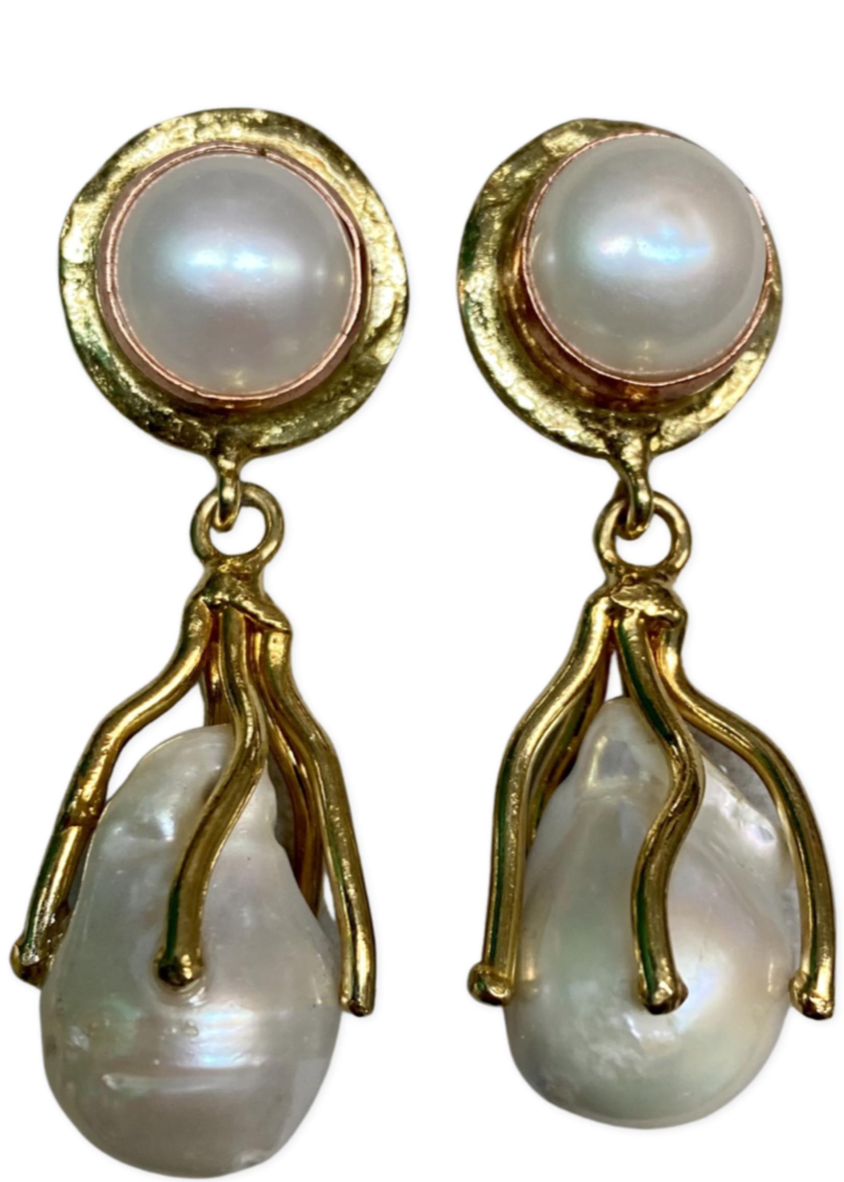 David Jeffery Earrings White Metal w Pearl
