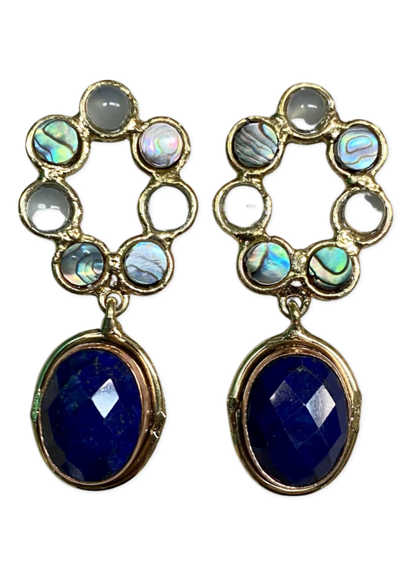 David Jeffery Earrings Brass&Copper  w Lapis, Abalone, & Blue Chalcedony